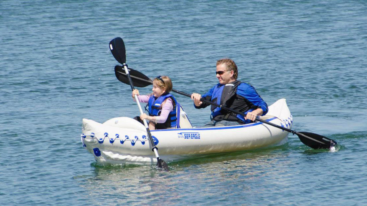 Tandem kayaking on Sea Eagle SE370