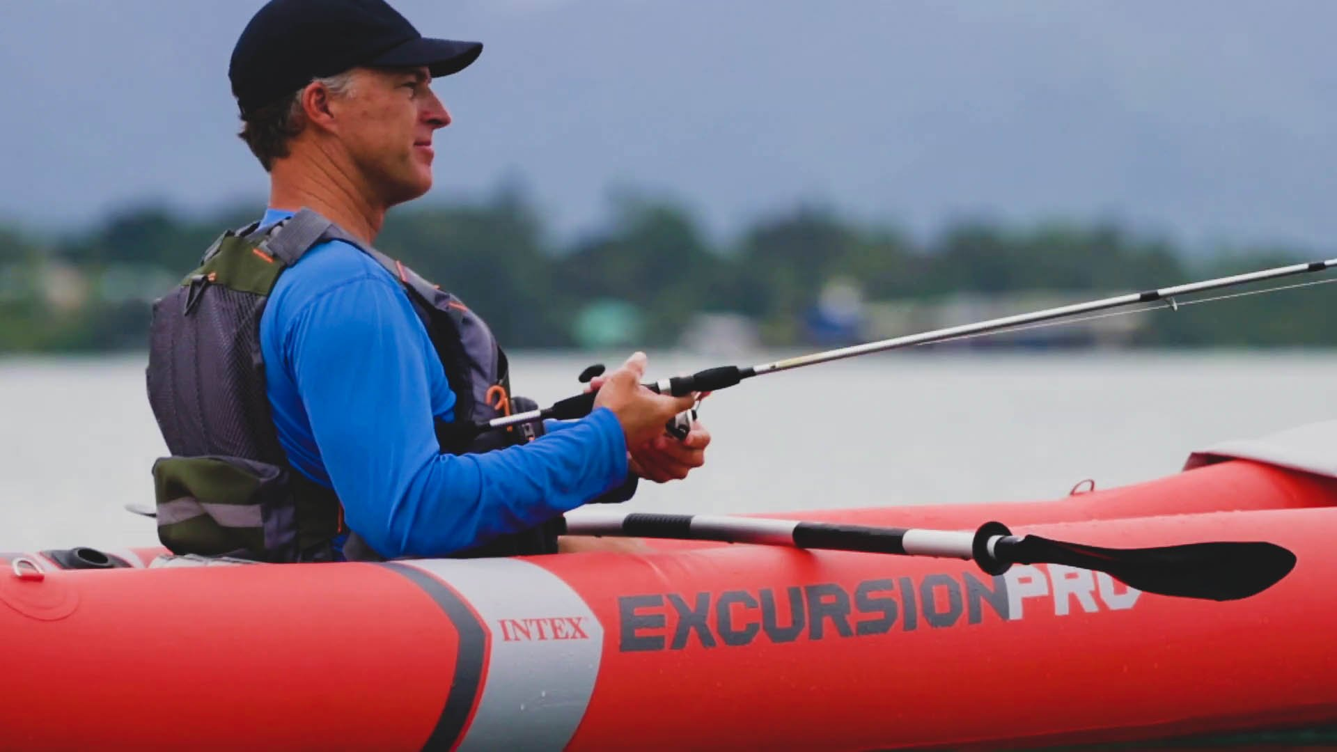 Fishing on Intex Excursion Pro Kayak
