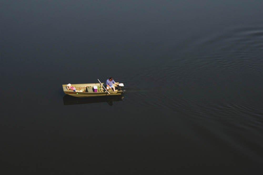 testing jon boat on water
