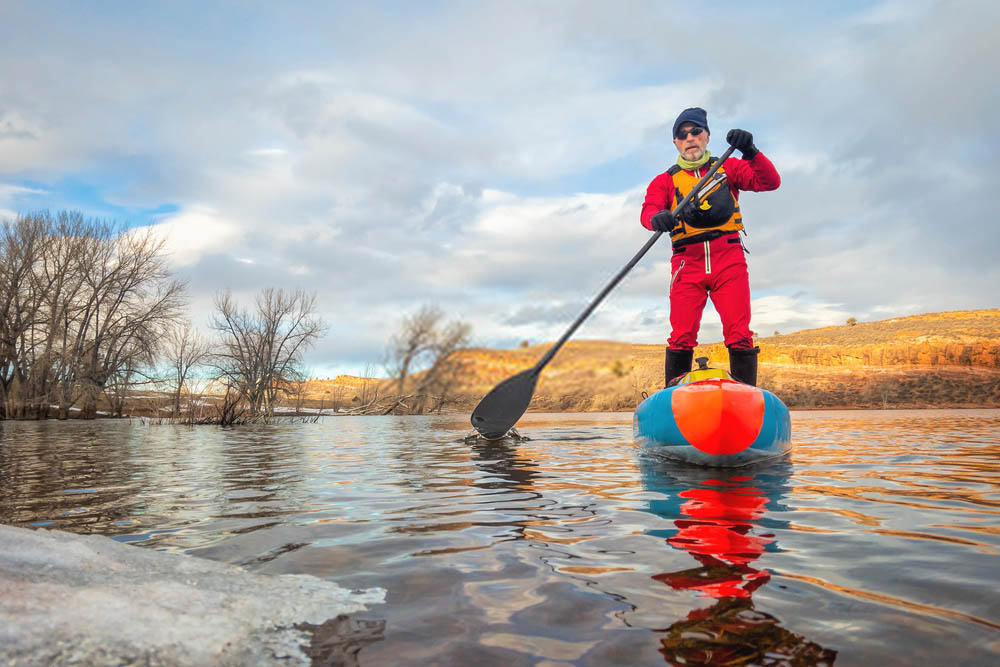 men in drysuit kayaking
